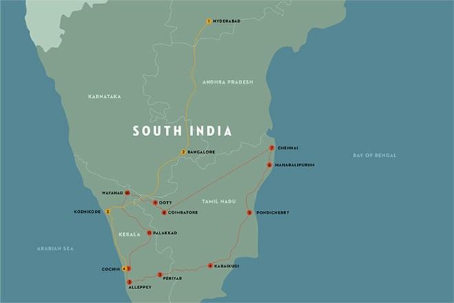 Map of South India with Faces, Places and Plates trip outlined