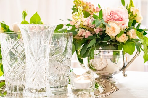 Crystal and china arrangements