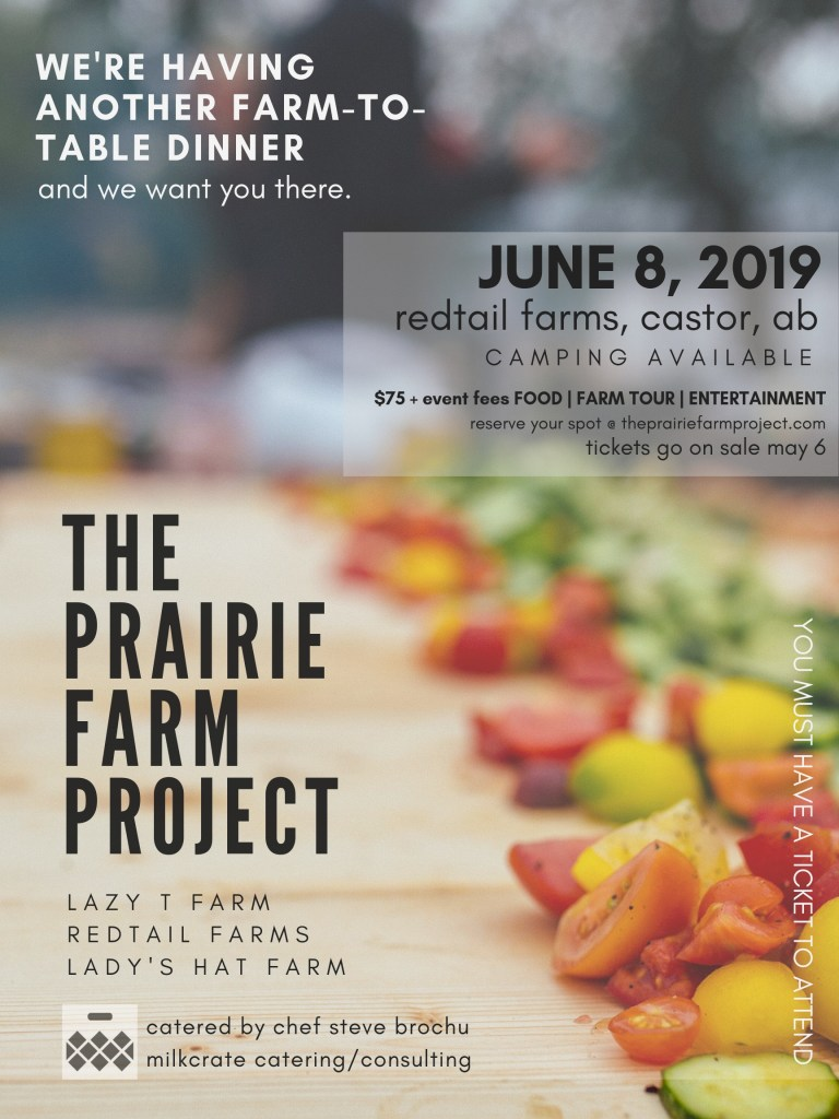 announcement of a farm to table dinner at Redtail Farms on June 8