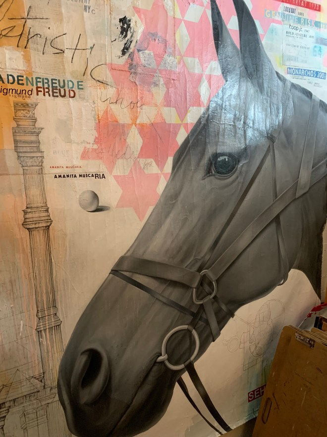 Bruce Pashak's current works featuring a horse on mixed media