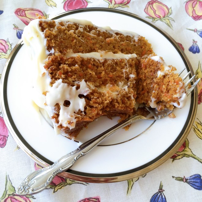 Aunty Muriel's Farmhouse Carrot Cake - sliced and ready to eat