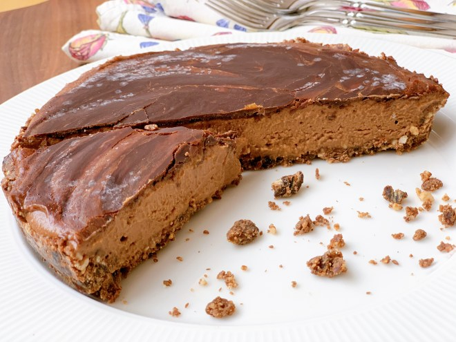 No-Bake Chocolate Peanut and Banana Pie - cut open to show interior