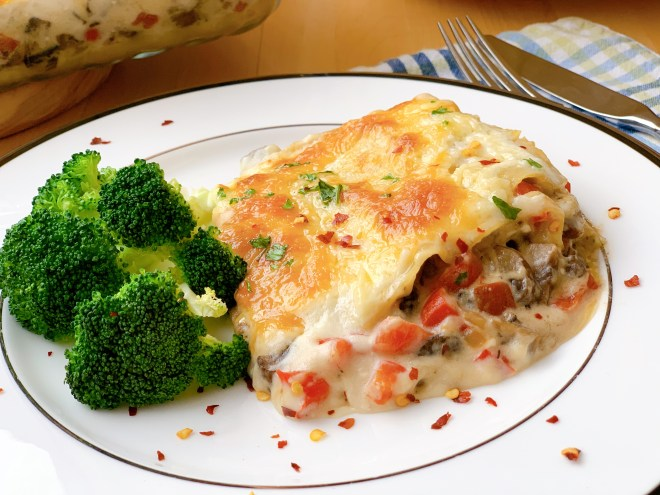 Red Pepper Mushroom Lasagna - close up