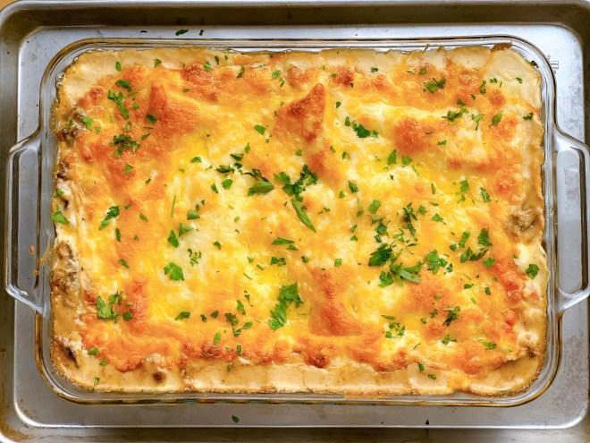 Red Pepper Mushroom Lasagna - in the baking pan - top down view