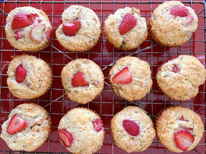 Strawberry Rhubarb and Pistachio Muffins - overhead view