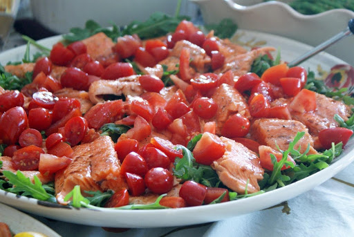 Grilled Trout with Tomatoes and Arugula Salad