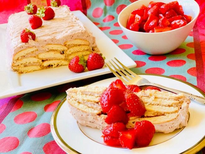 Strawberry Vanilla Icebox Cake - angle view