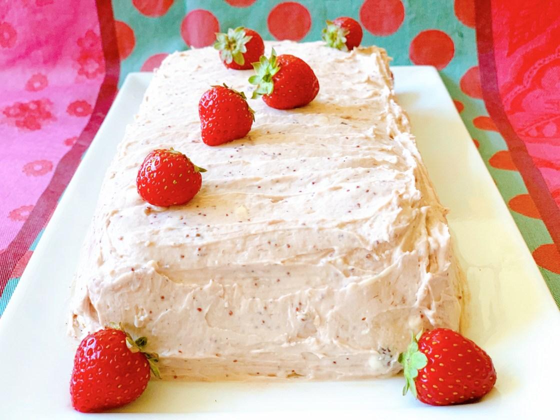 Strawberry Vanilla Icebox Cake - straight on view
