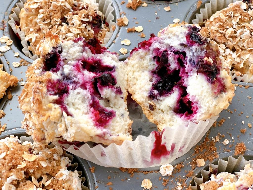Haskap Sour Cream Muffins - close up
