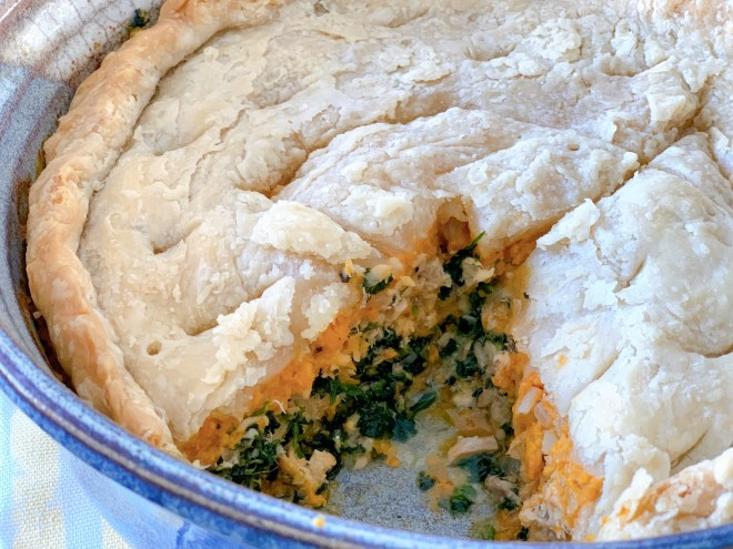 Salmon and Sweet Potato Pie - close up