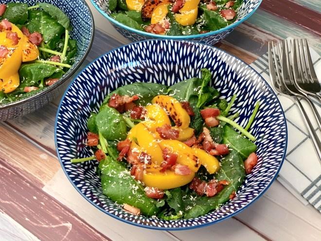 side angle ofGrilled Peach and Kale Salad