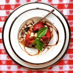 Strawberries with Pepper Balsamic Glaze - overhead view