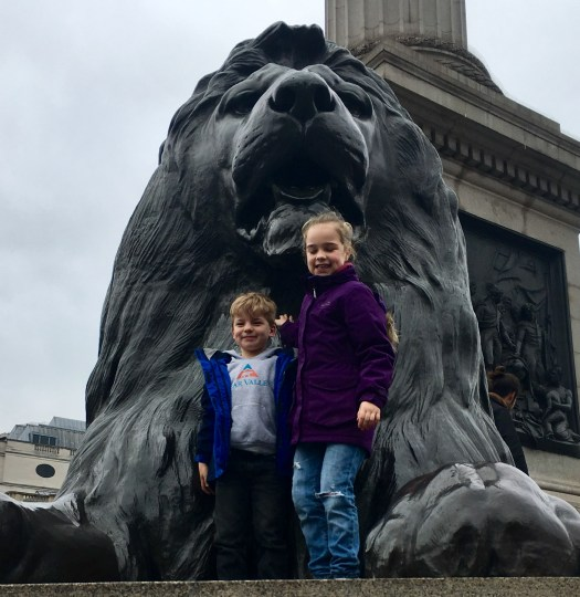 Say hello to the lions in Trafalgar Square