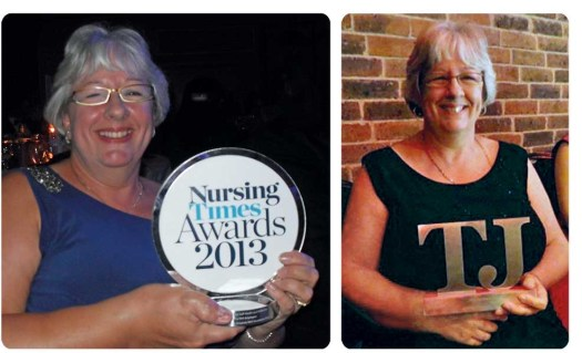 Two images of Gill Hinton holding Nursing Times Awards in 2013