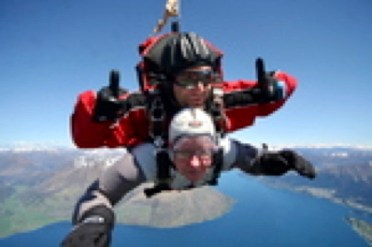 It's a bit pixilated but this is Kathy doing a sky dive in tandem