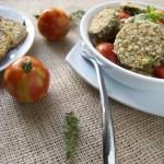 Breaded Zucchini & Eggplant Pasta w/ Chive-Basil Pesto
