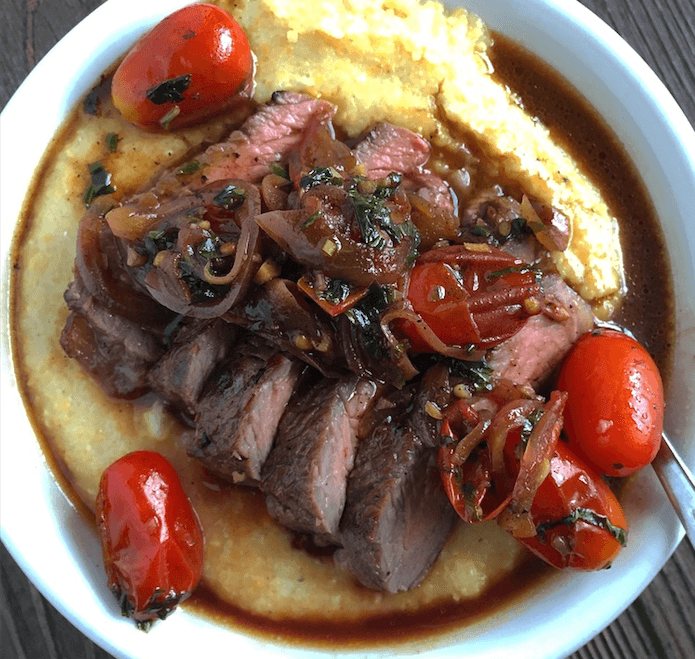 garlic-ribeye-steak-parmesan-polenta