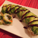 Tempura Shishito Pepper & Salmon Sushi w/ Sriracha-Lime Cream Cheese