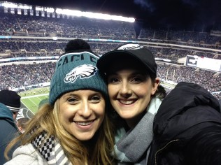 Andrea and I at a Philly Eagles game, fall 2015.