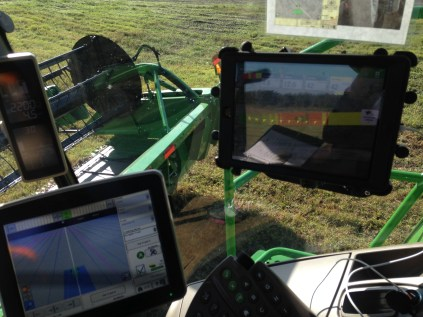 5. These screens help steer the equipment with GPS and record the yield in the field.