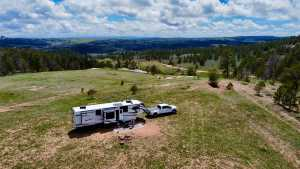 Image of Medicine Bow National Forest Boondocking site with our camper.