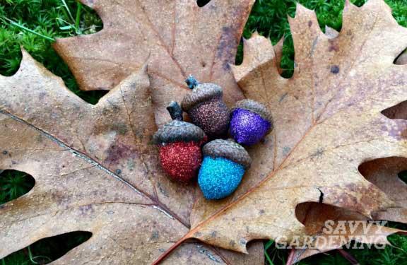 glitter acorns