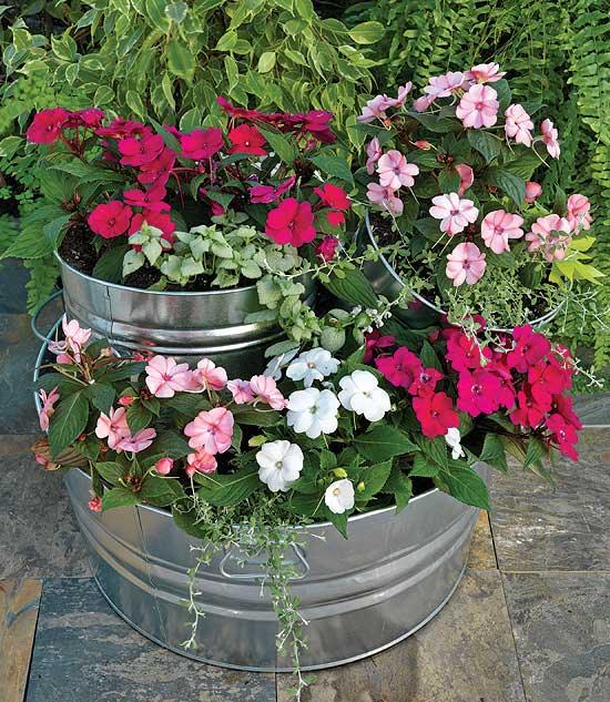 SunPatiens® tiered planter