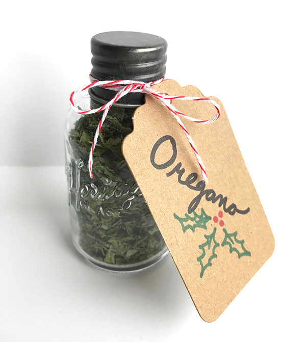 dried oregano spice jar