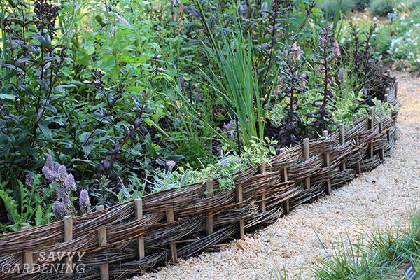Wattle edging creates a really tidy, unique look around a garden.