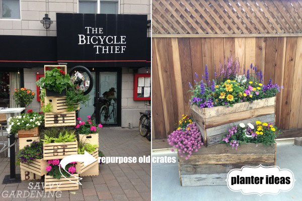 Use an old crate as a garden planter