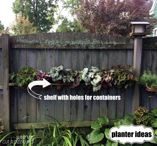 Hang a shelf on your fence for pots