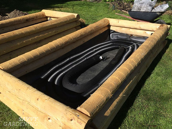 weeping tile tubing in a wicking bed