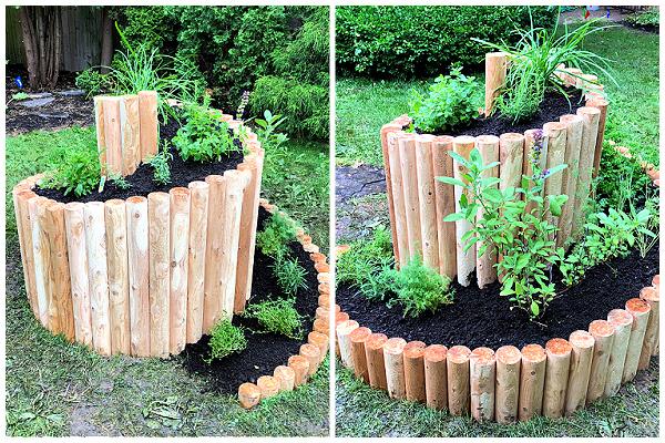 wood edged spiral garden