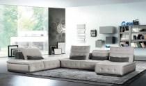 Cassano's Italian Light Grey & Dark Grey Fabric Sectional Sofa