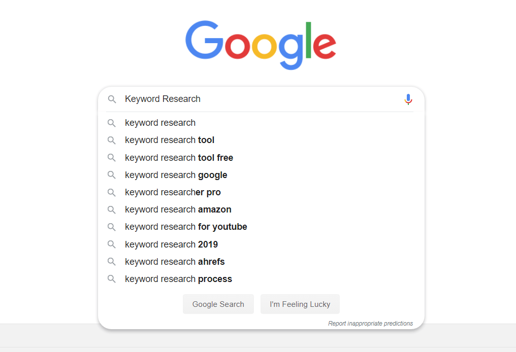 Keyword Research - Google Suggest