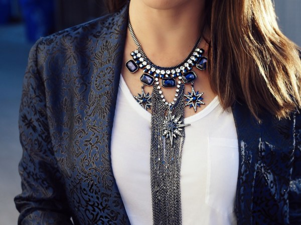 How to wear a statement necklace during the holidays via Savvynista.com