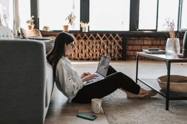 woman typing sitting