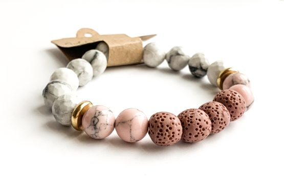 Gold Arrow Studios Pink and White Stone Essential Oil Bracelet