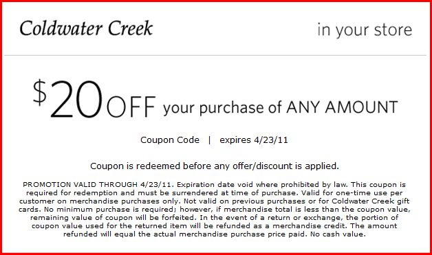 Coldwater Creek Offers