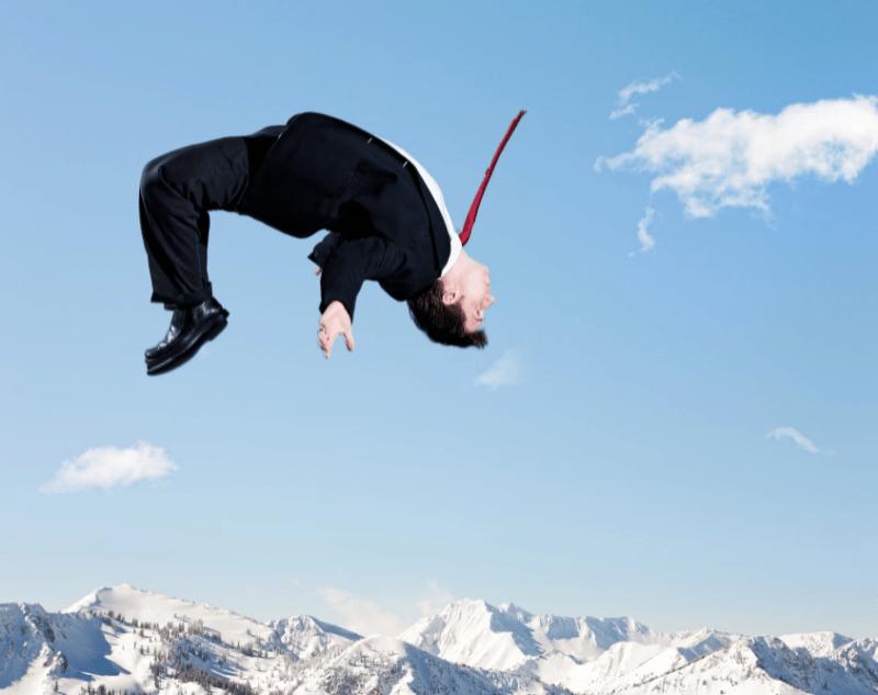 Lawyer doing back flip