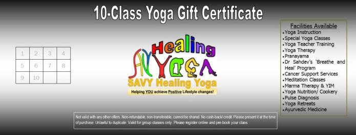 10-Class Yoga Gift Certificate