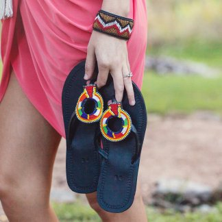 Hand Stitched Beaded Leather Sandals