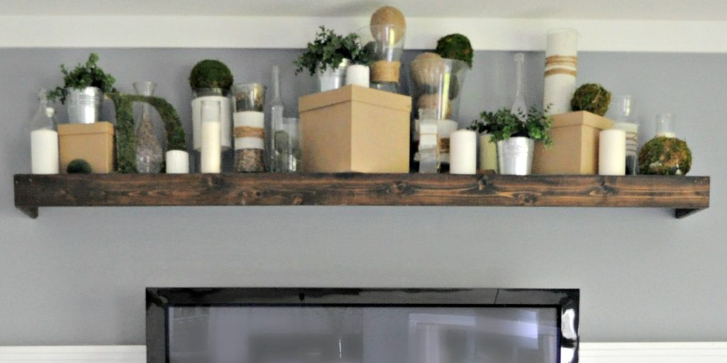diy floating shelves for my living room open stairs in transform an ikea shelf into a pottery barn ledge ...
