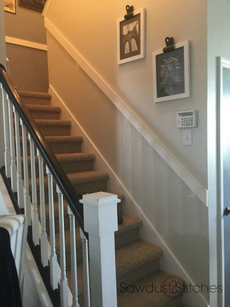 how to install chair rail white dining slipcover board and batten in the stairwell - sawdust 2 stitches