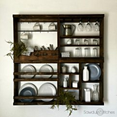 Stand Alone Kitchen Pantry Wood Countertops Pottery Barn Inspired Plate Rack - Sawdust 2 Stitches