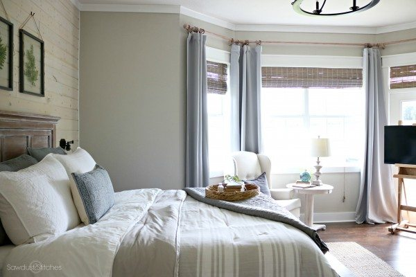 Master Bedroom Makeover with ShipLap accent wall by www