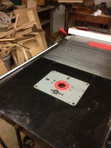 Router plate in location - just the mitre slots to add.