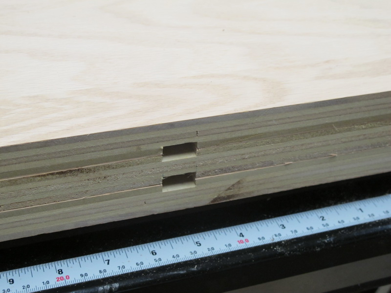 The long boards have a dado in the centre to hold the centre shelf and hold the uprights parallel.