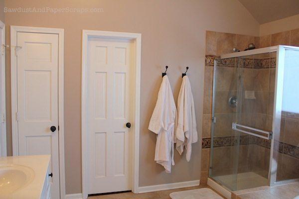 Master closet in bathroom