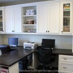 Office wood countertops white built ins